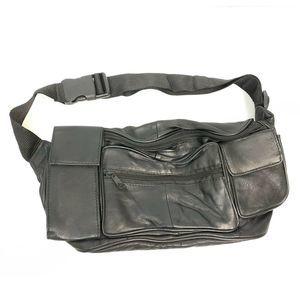 Other - Fanny Pack Black Leather Travel Hip Belt Waist Bag